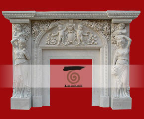 marble fireplace surround in USA style A-FP079